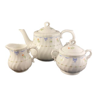 Vintage Royal Worcester Ribbons & Bows Teapot, Sugar and Creamer Set - 3 Pieces For Sale