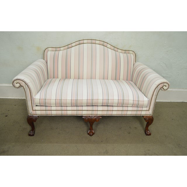 Textile Heritage Chippendale Style Ball & Claw Foot Loveseats - A Pair For Sale - Image 7 of 10