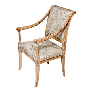 Italian Linen Upholstery Carved Armchair For Sale