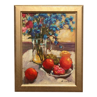 Fruit and Floral Still Life Painting For Sale