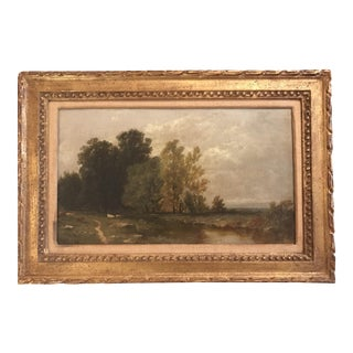 Mid 19th Century Antique Small Hudson River School Framed Painting For Sale