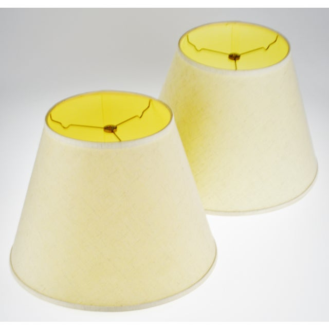Linen Vintage New Brunswick Linen Empire Shape Lamp Shades - a Pair For Sale - Image 7 of 11