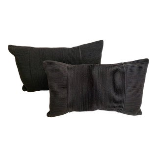 Contemporary Black Silk Cord Rectangular Luxury Pillows With Feather Fillers - a Pair For Sale