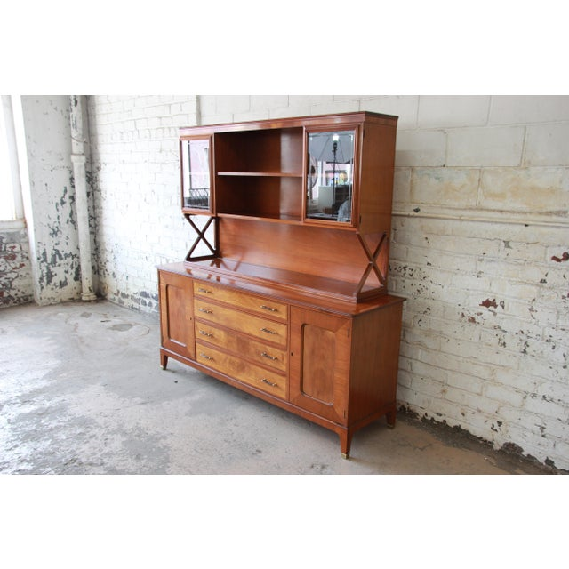 Renzo Rutili for Johnson Furniture Co. Mid-Century Modern Sideboard Credenza with Hutch Top For Sale - Image 11 of 11