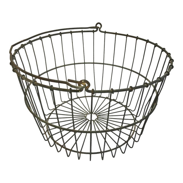 Vintage Rustic Wire Metal Egg Basket With Handle For Sale