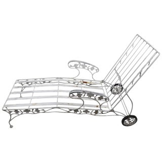 Outdoor Reclining Chaise With Metal Foliate Motif For Sale