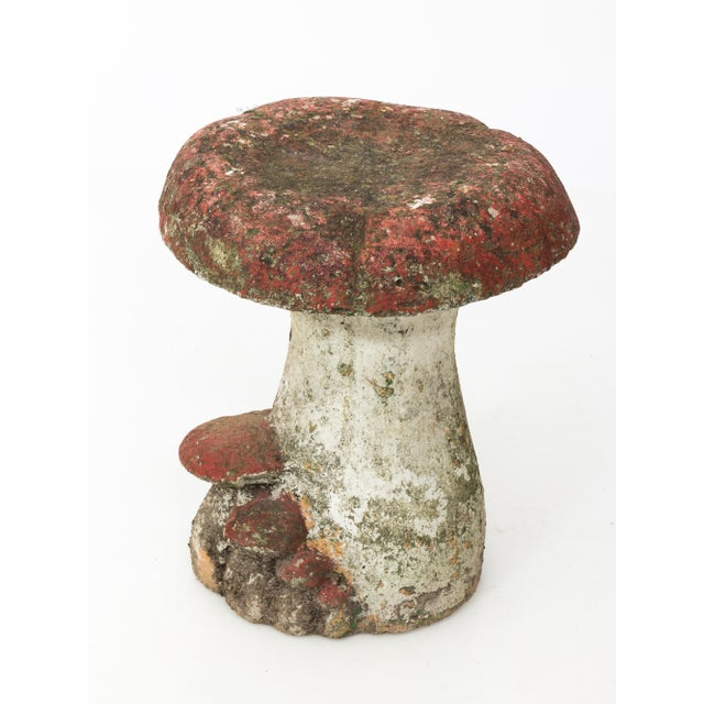 Vintage French cast stone mushroom stool. Some original color remains on this whimsical garden ornament. Three available.