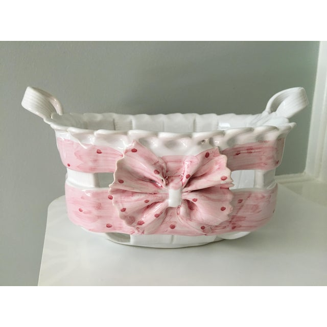 Lovely, pink and white basket weave container hand painted and made in Portugal from the 1980's. This ceramic basket has...