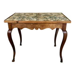 French Provincial Louis XV Period Side Table With Textile Top For Sale