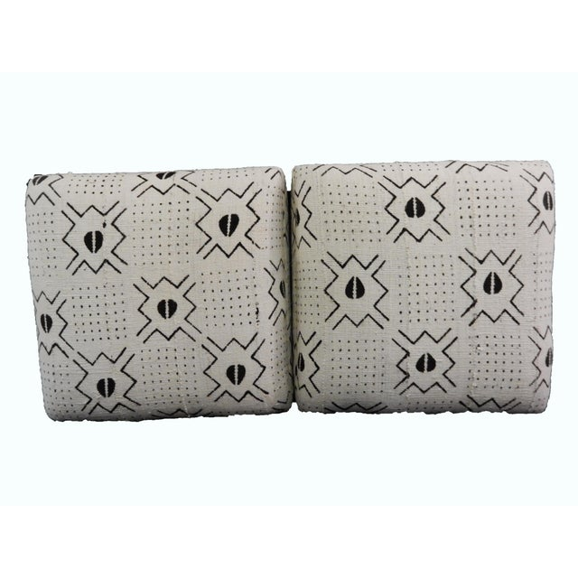 White & Black Mud Cloth Ottomans - A Pair - Image 2 of 9