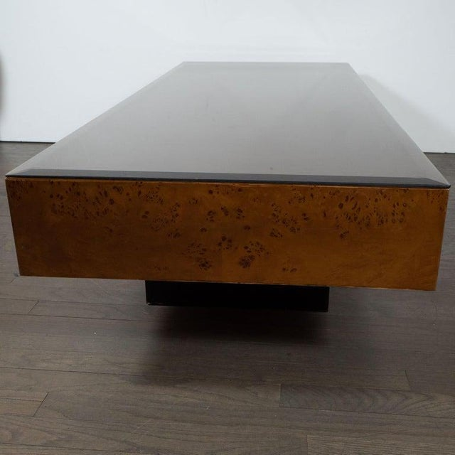 Milo Baughman Mid-Century Cocktail Table in Carpathian Elm and Ebonized Walnut For Sale - Image 4 of 6