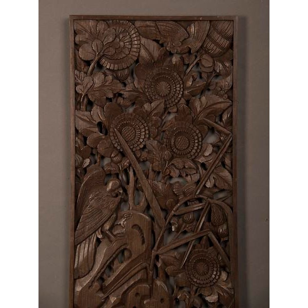 Early 20th Century 1900s Chinese Handsome Carved Birds And Foliage Motif Timber Panel For Sale - Image 5 of 6