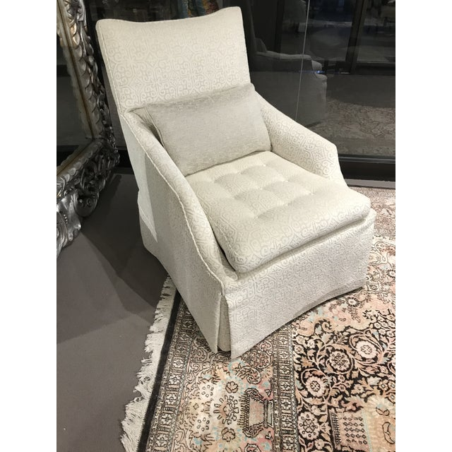 Newly Upholstered Large Lounge Chair by Henredon in Pindler Greige and Off White Chenile. Tufted inside back and...