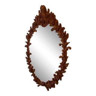Carved Wood Floraform Mirror For Sale