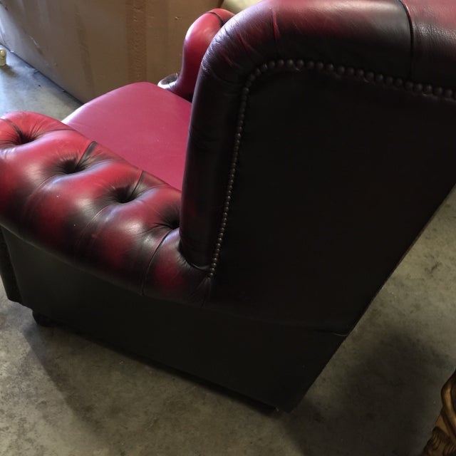 Springvale Leather Tufted Armchair For Sale - Image 4 of 7