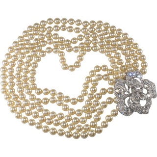 Kenneth Jay Lane Necklace Cultured Pearls Clear Rhinestone Flower Clasp For Sale