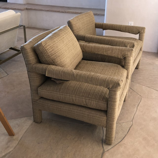 Textile 1970s Vintage Parsons Lounge Chairs - A Pair For Sale - Image 7 of 13