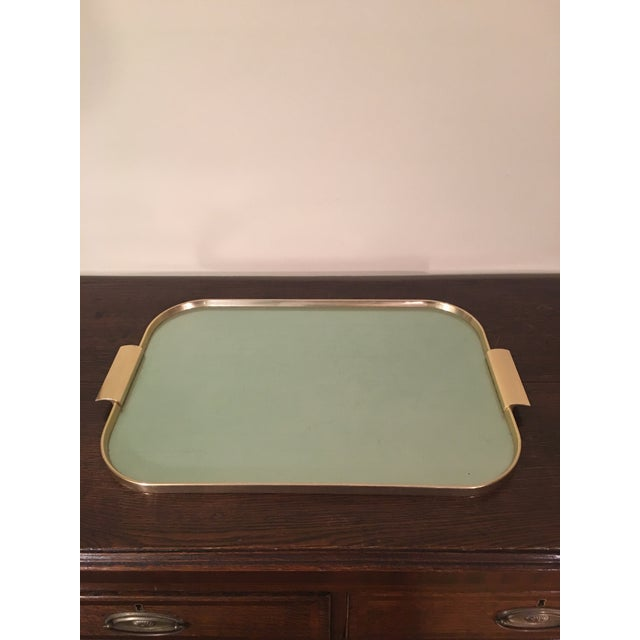 Green 1970s Mid Century Kaymet Green Tone and Gold Bar Tray For Sale - Image 8 of 8