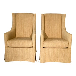 French 19th C. Design Wingback Armchairs - A Pair For Sale