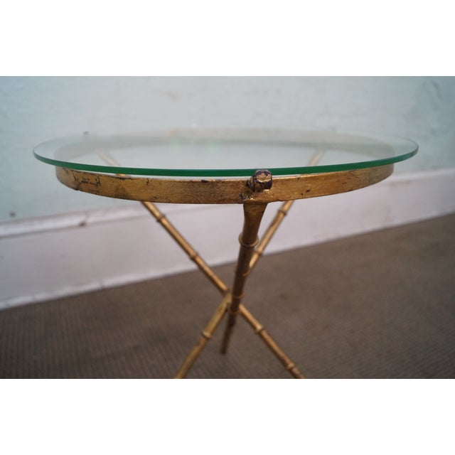 Gold Vintage Gilt Metal Faux Bamboo Side Table For Sale - Image 8 of 10