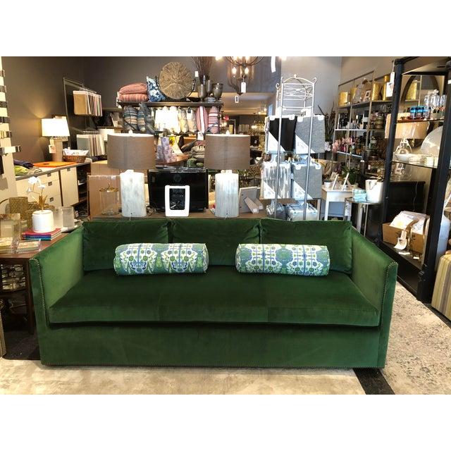 Hollywood Regency Highland House Emerald Green Velvet Sofa For Sale - Image 3 of 11