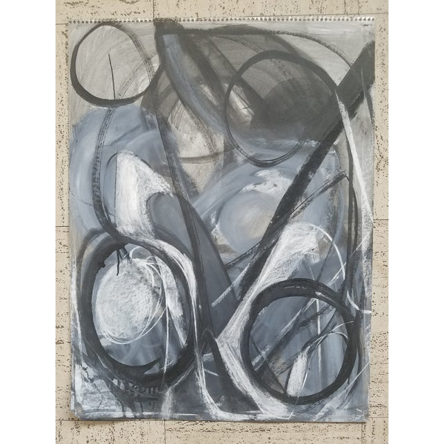 Abstract Abstract Black and White Charcoal Drawing #5 by Terry Frid For Sale - Image 3 of 3