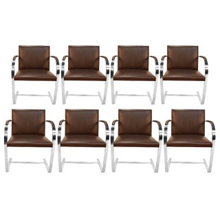 Eight Brueton Leather Bruno Flat Bar Chrome Armchairs Style of Mies Van Der Rohe