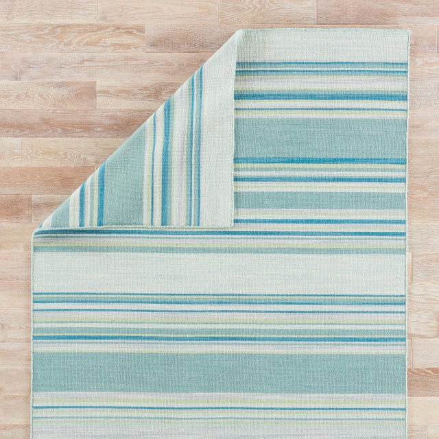 Jaipur Living Kiawah Handmade Striped Blue/ Turquoise Area Rug - 8′ × 10′ For Sale - Image 4 of 6