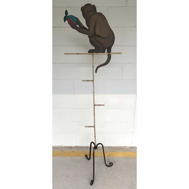 Tole Monkey With Pomegranate Towel Rack For Sale - Image 9 of 11