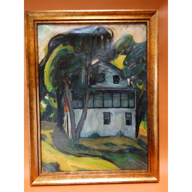 Ejnar Hansen depiction of an old Santa Barbara home, showing the summer porch. One can almost hear the house sighing in...
