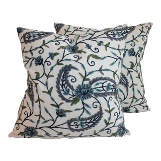 Blue & Green Floral Crewel Work Pillows - A Pair For Sale