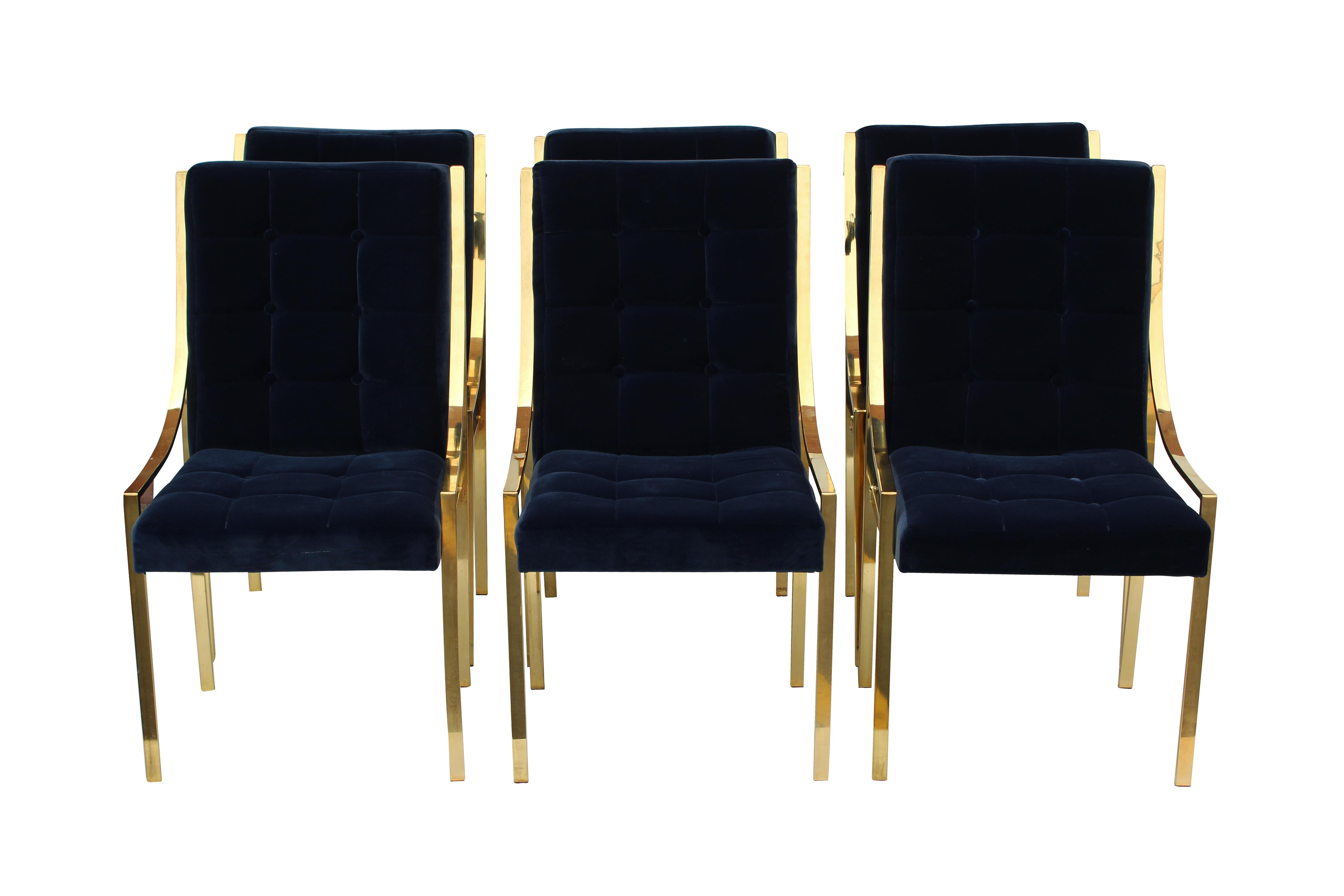 Bassett Furniture Blue Velvet U0026 Brass Dining Chairs   Set Of 6   Image 3 Of