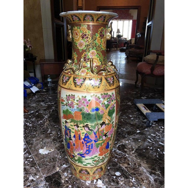 Tall Chinese Vases with Decorative Scenes, 20th Century - A Pair For Sale - Image 10 of 13