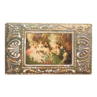 1940s Florentine Decoupage Parcel-Gilt Wooden Box With Ladies For Sale