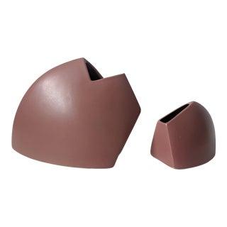 Set of 2- Vintage Modernist J Johnston Sculptural Vessels Vases For Sale