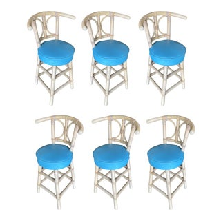 Restored Single Strand Rattan Bar Stools with Horsehoe Back - Set of 6 For Sale