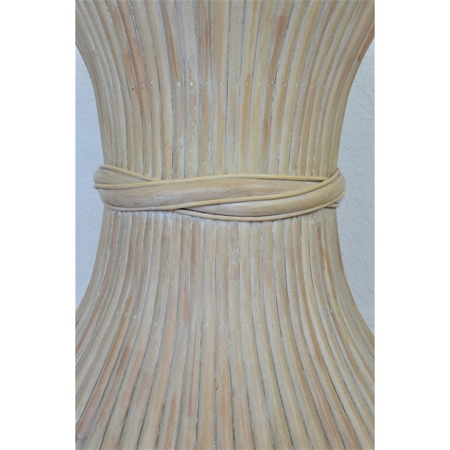 McGuire Wheat Sheaf Bamboo Rattan Dining Table With Thick Round Glass Top Organic Mid Century Modern MCM Millennial For Sale In Miami - Image 6 of 11