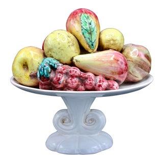 Mid 20th Century Italian Majolica Ceramic Lemon Fruit Topiary For Sale
