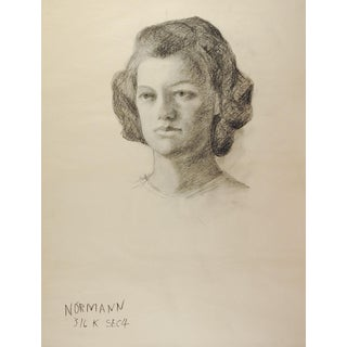 Drawing Female Portrait 1950's For Sale