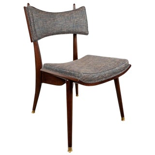 Mid-Century Modern Klismos Walnut & Brass Chair by Harold Schwartz for Romweber For Sale