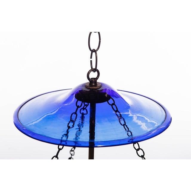 English Vintage Large Deep Indigo Blue Glass Bell Jar Pendant Light For Sale - Image 3 of 8