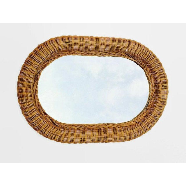 Boho Chic Vintage Natural Wicker Rattan Oblong Wall Mirror For Sale - Image 3 of 10