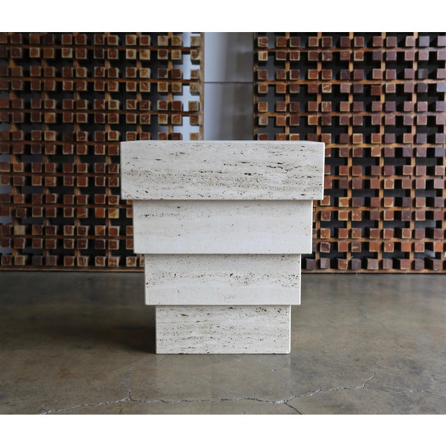 Gray Sculptural Modernist Travertine Pedestal For Sale - Image 8 of 8