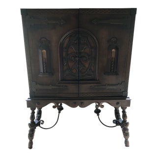 1920s Spanish Wrought Iron Carved Cabinet For Sale