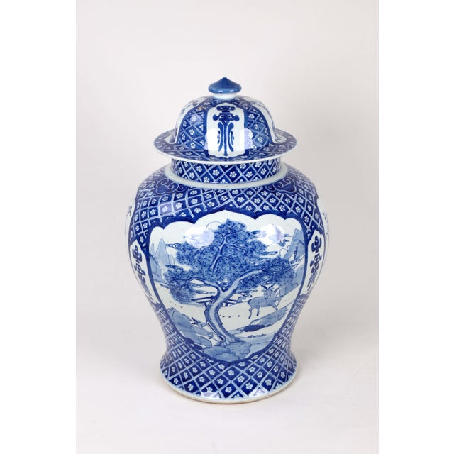 Asian Early 20th Century Vintage Blue White Temple Jar For Sale - Image 3 of 13
