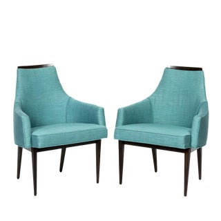 Restored Kipp Stewart Turquoise Fabric and Ebony Frames Armchairs, 1960s - a Pair For Sale
