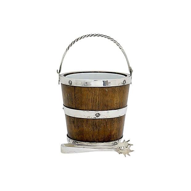Arts & Crafts Oak & Porcelain Ice Bucket W/ Tongs For Sale