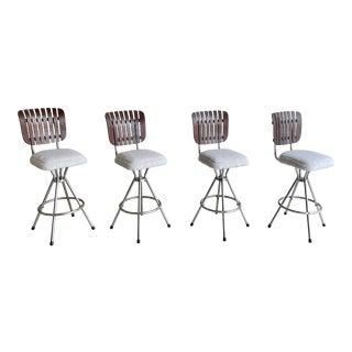 Slat Back Arthur Umanoff Style Barstools For Sale