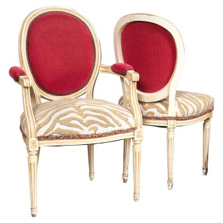 French Chairs in Red & Beige Zebra - Set of 8