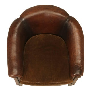 French Leather Barrelback Chair For Sale
